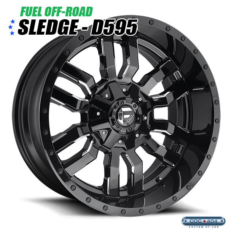 【20インチ 9J】Fuel Offroad D595 Sledge グロスブラック&シルバーアクセント 1本