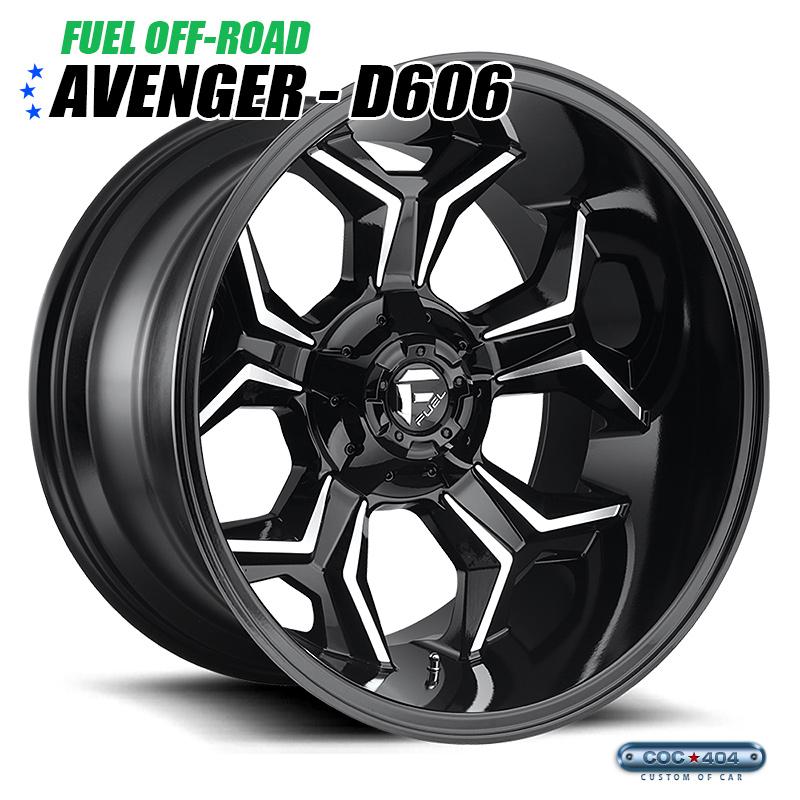 【20インチ 9J】Fuel Offroad D606 Avenger グロスブラック&シルバーアクセント 1本