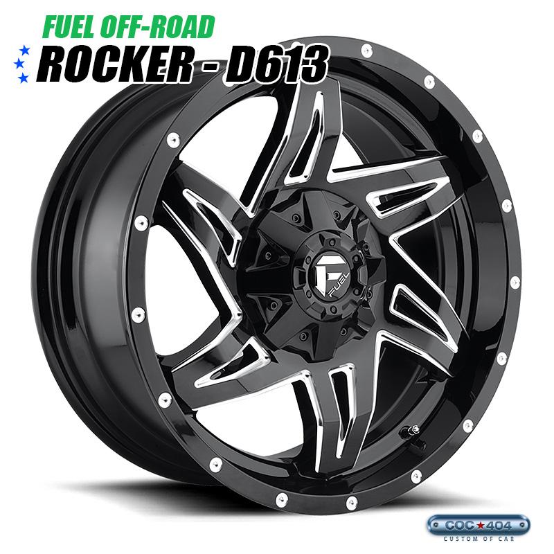 【20インチ 9J】Fuel Offroad D613 Rocker グロスブラック&シルバーアクセント 1本