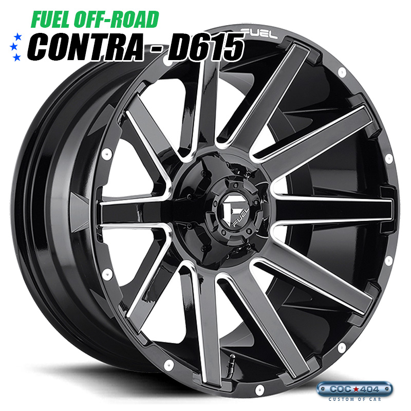 【20インチ 9J】Fuel Offroad D615 Contra グロスブラック&シルバーアクセント 1本