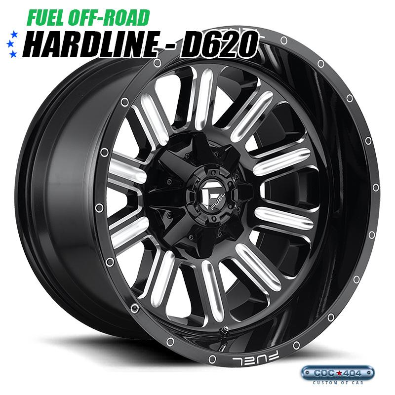 【20インチ 9J】Fuel Offroad D620 Hardline グロスブラック&シルバーアクセント 1本