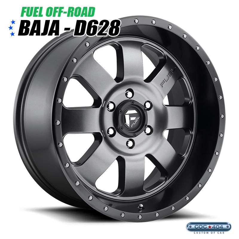 【20インチ 9J】Fuel Offroad D628 Baja マットグレー&ブラックリップ 1本