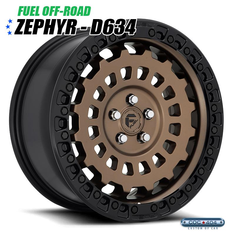 【17インチ】Fuel Offroad D634 Zephyr Car マットブロンズ&ブラックリップ 1本