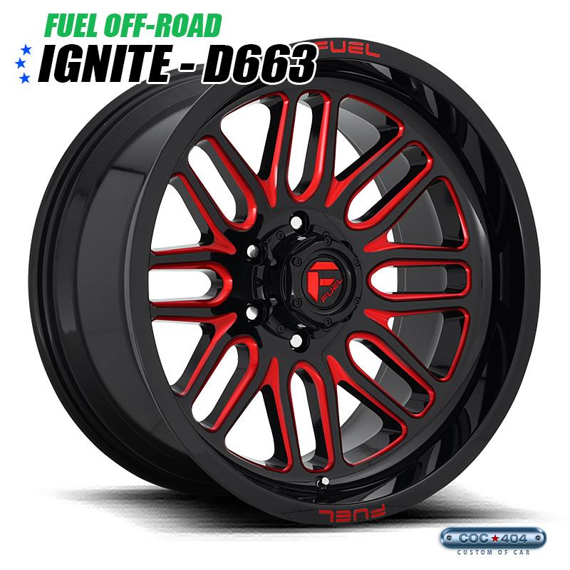 【20インチ 9J】Fuel Offroad D663 Ignite グロスブラック&レッドアクセント 1本