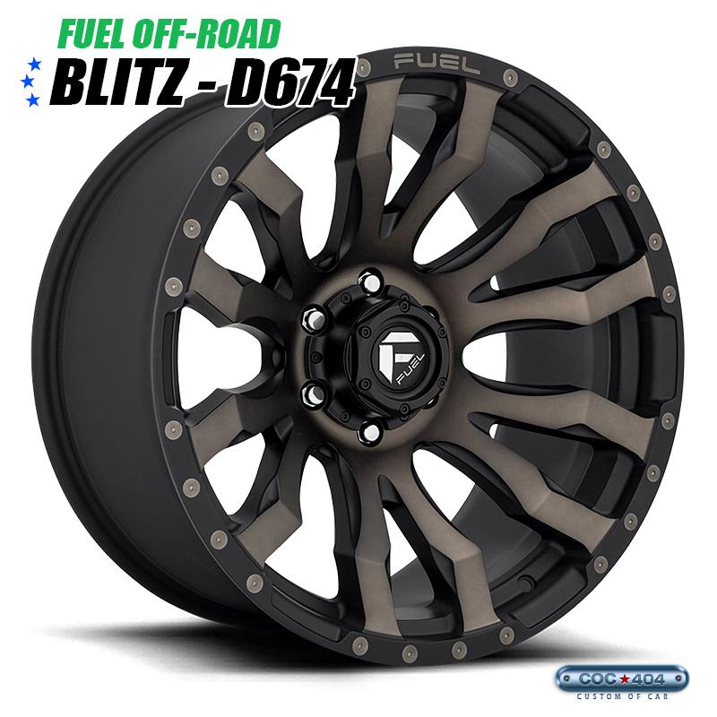 【20インチ9J】Fuel Offroad D674 Blitz マットブラック&ダークティント 1本