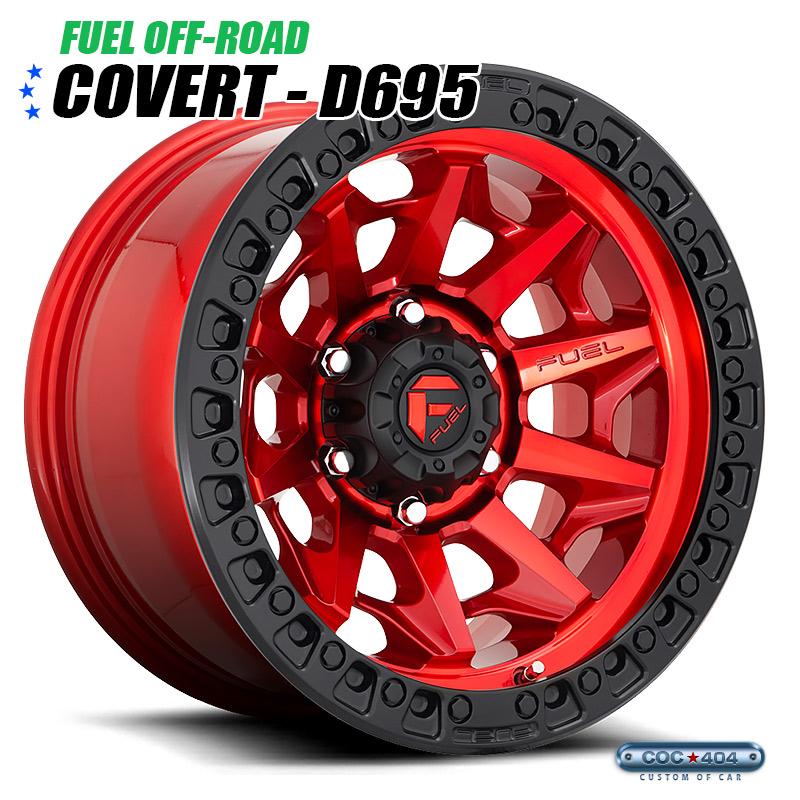 【20インチ】Fuel Offroad D695 Covert キャンディレッド&ブラックリップ 1本