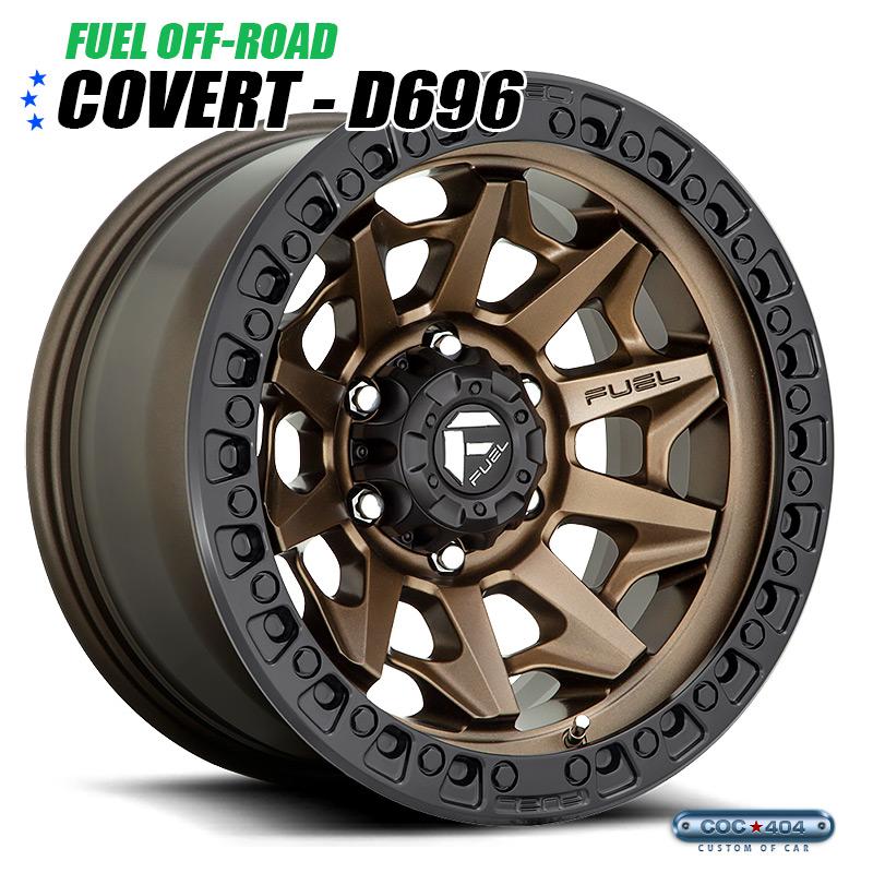【20インチ】Fuel Offroad D696 Covert マットブロンズ&ブラックリップ 1本
