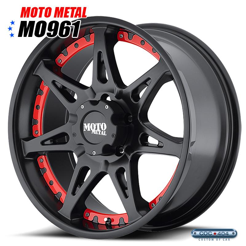 【18インチ 9J】MOTO METAL MO961 サテンブラック&レッド&クロームアクセント 1本