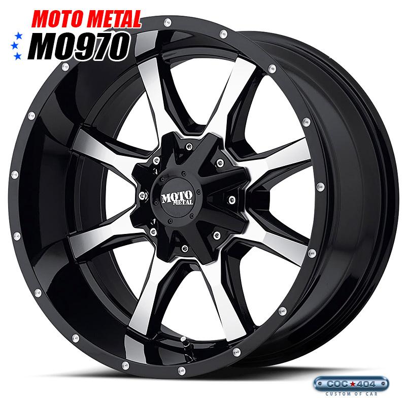 【17インチ 8J】デリカ、エクストレイル、ナイトロなど MOTO METAL MO970 グロスブラック&シルバー 1本