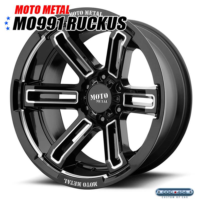 【20インチ 9J】MOTO METAL MO991 グロスブラック&シルバーアクセント 1本