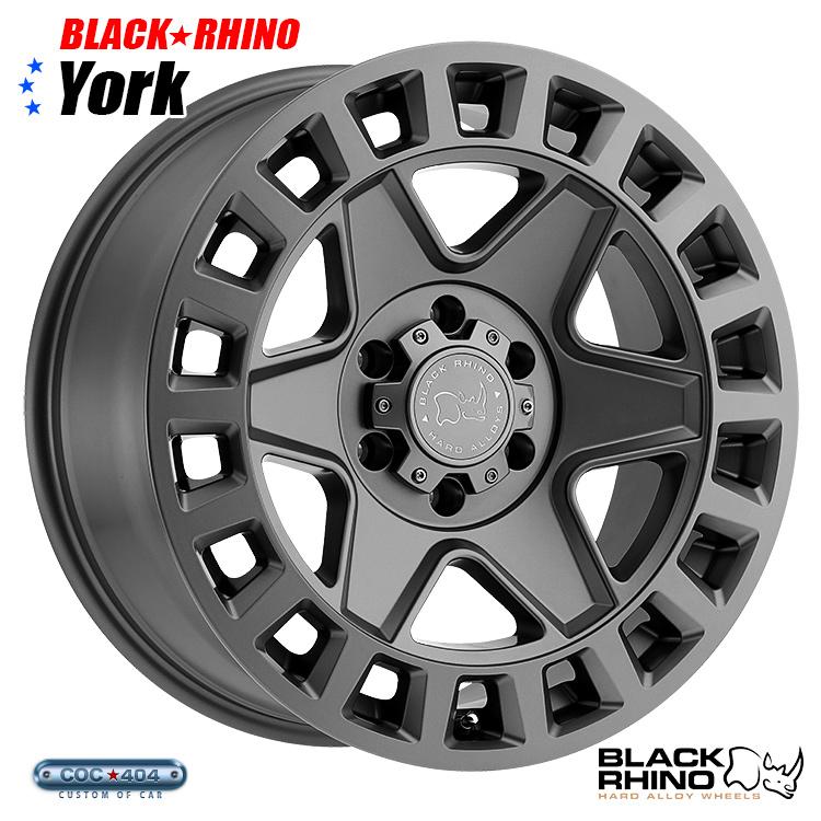 【18インチ8J】BLACK RHINO York (ブラック ライノ ヨーク) マットガンメタル 1本 ジープ ラングラー JK チェロキー コンパス など