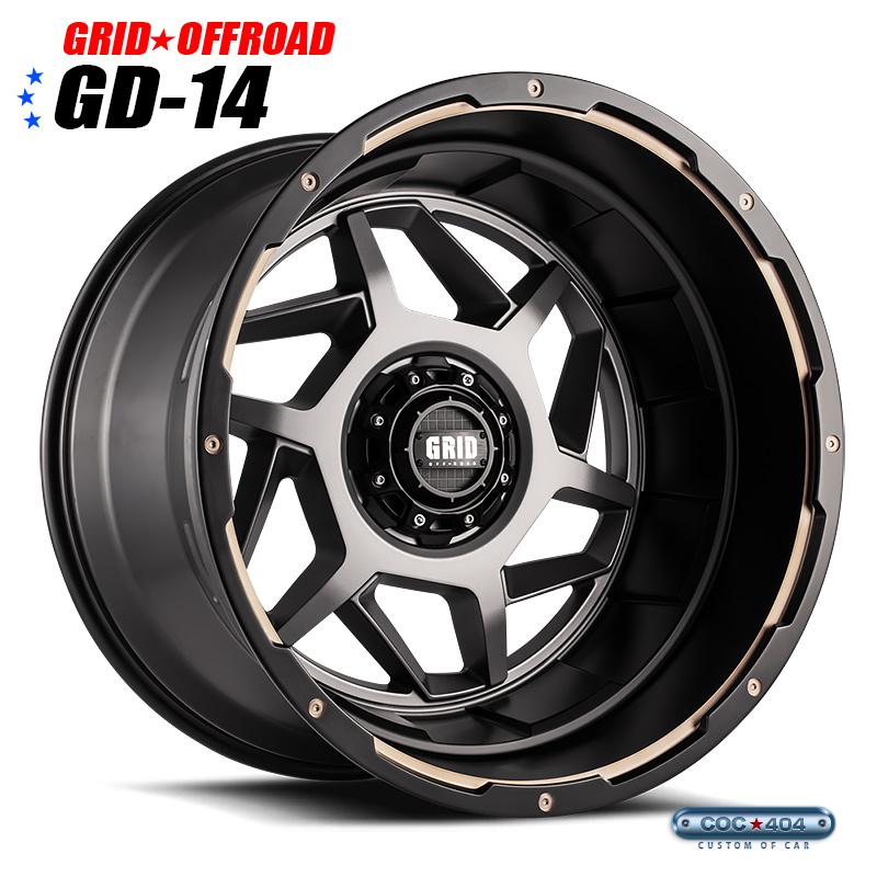 【20インチ9J】Grid Offroad GD-14 マットグレー&ブラックリップ 1本