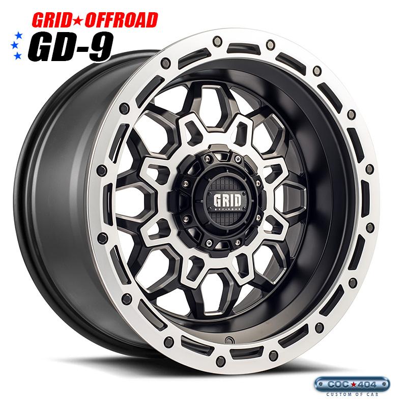 【20インチ10J】Grid Offroad GD-9 マットブラック&シルバーアクセント 1本