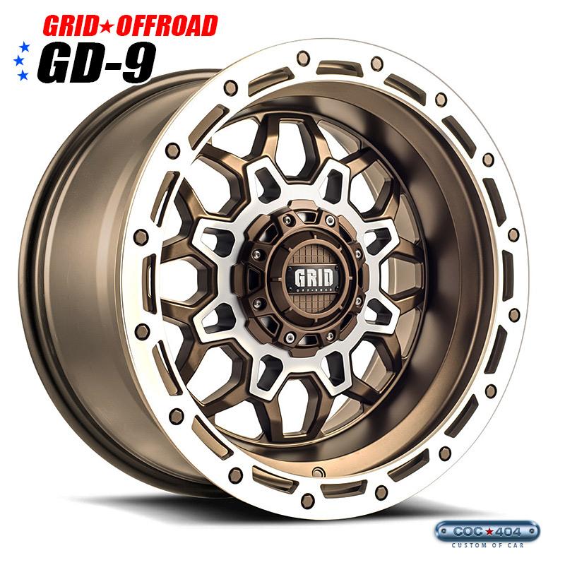【18インチ】Grid Offroad GD-9 マットブロンズ&シルバーアクセント 1本