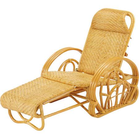 籐三つ折リクライニング寝椅子 籐 ラタン おしゃれ アジアン 家具 A100