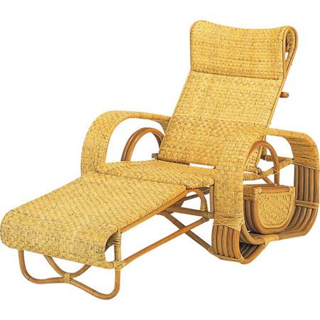 籐三つ折リクライニング寝椅子 籐 ラタン おしゃれ アジアン 家具 A107