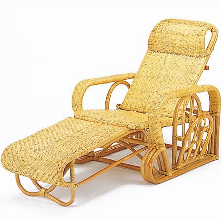 籐三つ折リクライニング寝椅子 籐 ラタン おしゃれ アジアン 家具 A113
