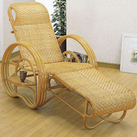 籐三つ折リクライニング寝椅子 籐 ラタン おしゃれ アジアン 家具 A200