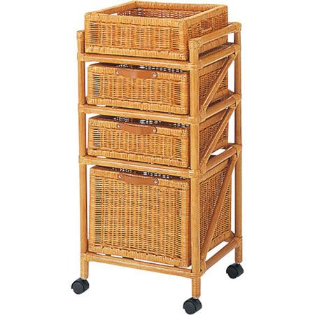籐製ランドリー ボックス チェスト 3段 スリム 上カゴ付き 幅40 奥行き36 高さ86 籐 ラタン おしゃれ アジアン 家具 E45