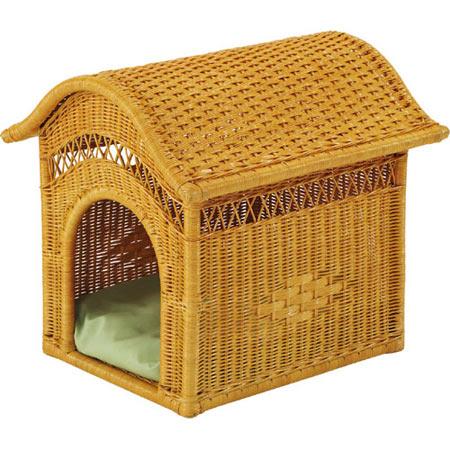 籐製ペットハウス 籐 ラタン ペットハウス ペットキャリーバスケット おしゃれ アジアン 家具 R283