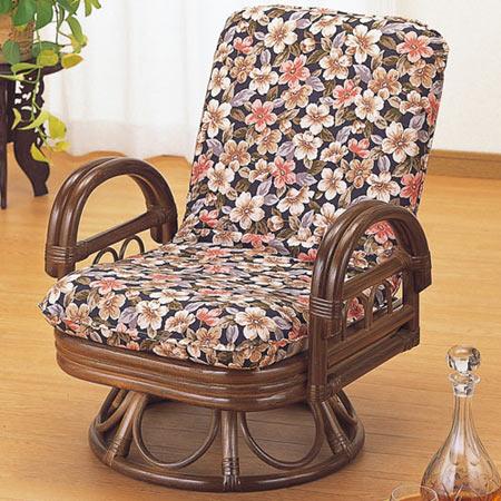 籐リクライニング回転座椅子 ミドル 籐 ラタン おしゃれ アジアン 家具 S889B