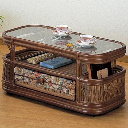 籐リビングテーブル キャスター付 幅90cm 籐 ラタン おしゃれ アジアン 家具 T995B