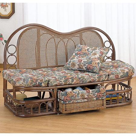 籐製カウチソファー 2人掛け 幅125 籐 ラタン おしゃれ アジアン 家具 Y611B