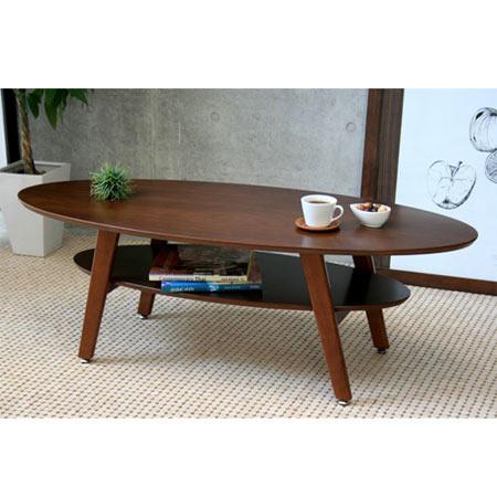 棚付きオーバルリビングテーブル 幅120 ブラウン ◆ 楕円 オーバル センターテーブル ローテーブル リビングテーブル テーブル 机 つくえ lt-oval-br