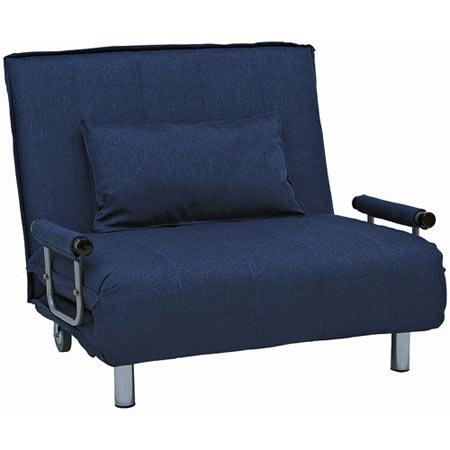 1人掛け折りたたみリクライニングソファベッド 幅101cm 布張 グラーテ ネイビー