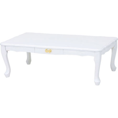 リボン型取っ手の折りたたみ猫脚テーブル 幅100cm