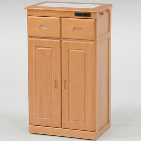 タイル天板キッチンカウンターキャビネット 隠しキャスター付き 幅52cm高さ90cm ナチュラル
