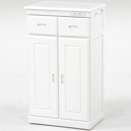 タイル天板キッチンカウンターキャビネット 隠しキャスター付き 幅52cm高さ90cm ホワイト