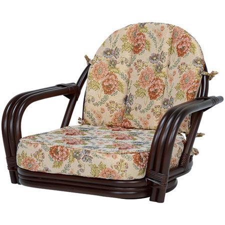 籐回転座椅子 ワイドサイズ ロー ダークブラウン
