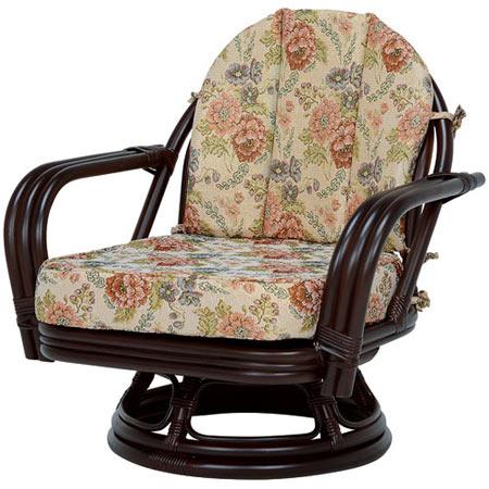 籐回転座椅子 ワイドサイズ ミドル ダークブラウン