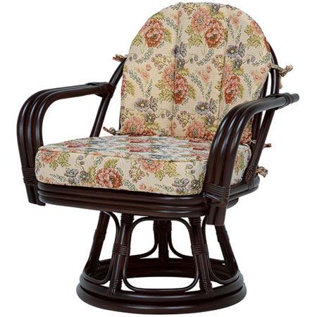 籐回転座椅子 ワイドサイズ ミドルハイ ダークブラウン