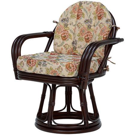 籐回転座椅子 ワイドサイズ ハイ ダークブラウン