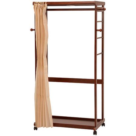 カーテン付き木製ハンガーラック ダークブラウン 幅92cm