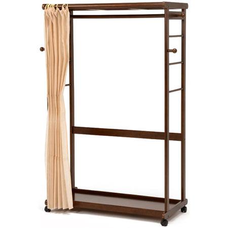 カーテン付き木製ハンガーラック ダークブラウン 幅112cm