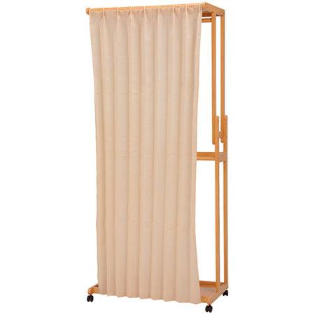カーテン付き木製ハンガーラック ナチュラル 幅90cm