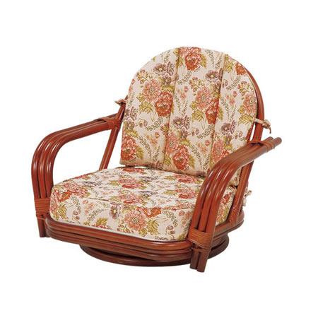 籐回転座椅子 ワイドサイズ ロー ライトブラウン