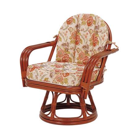 籐回転座椅子 ワイドサイズ ミドルハイ ライトブラウン
