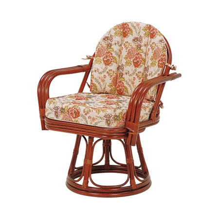 籐回転座椅子 ワイドサイズ ハイ ライトブラウン