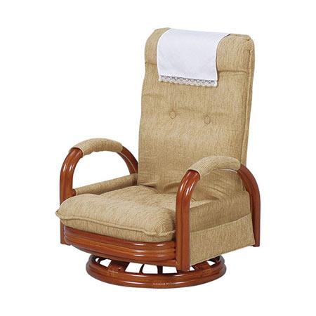 籐リクライニング回転座椅子 ハイバック ロータイプ ライトブラウン