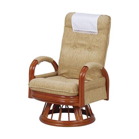 籐リクライニング回転座椅子 ハイバック ミドルタイプ ライトブラウン
