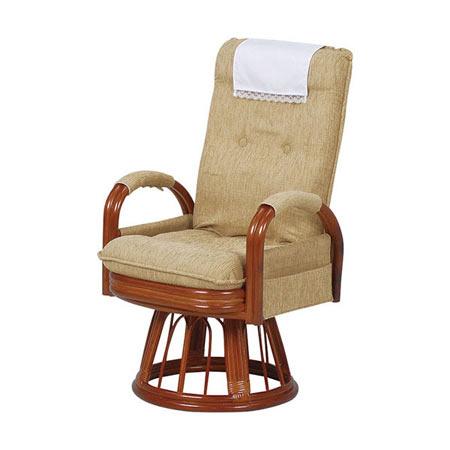 籐リクライニング回転座椅子 ハイバック ハイタイプ ライトブラウン