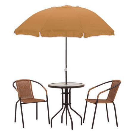 ガーデン4点セット テーブル+チェア2脚+パラソル LGS-4038S
