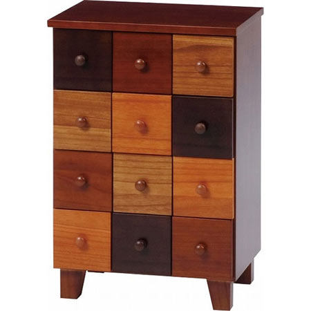 木製カラフルチェスト ナチュラルグラデーション 幅43cm 高さ65cm ブラウン MCH-5542