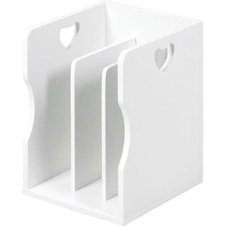 積み重ね可能ブックスタンド ハートデザイン ホワイト 4個組 MM-7205WH