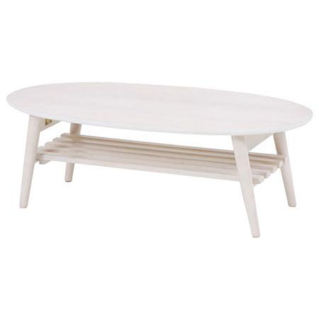 折りたたみリビングテーブル 幅100cm 棚付き オーバル ホワイトウォッシュ MT-6922WS