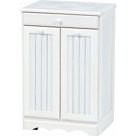 ごみ箱内蔵薄型キッチンカウンター 隠しキャスター付き 幅47cm 高さ70cm ホワイトウォッシュ MUD-3556WS